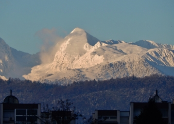 December: The Kamnik-Savinja Alps from my parents' front door in Bežigrad, Ljubljana, Slovenia.